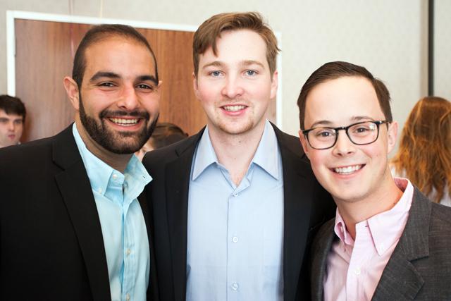 David Kafafian '13 meets with Doug Fernandez '15 and Mike Zausmer '15.