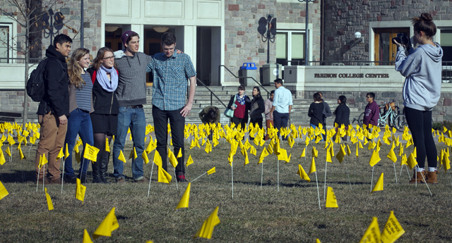 Students placed 2,500 forensic flags on the Quad.