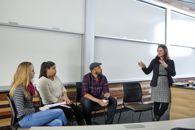 Filmmaker Justin Simien visited the Cultural Anthropology class taught by Miranda Campoamor, visiting assistant professor of anthropology and sociology, in Oechsle Center for Global Education. Kayleigh Yerdon '18 and Cindy Matos '18 lead the discussion about Simien's film Dear White People.