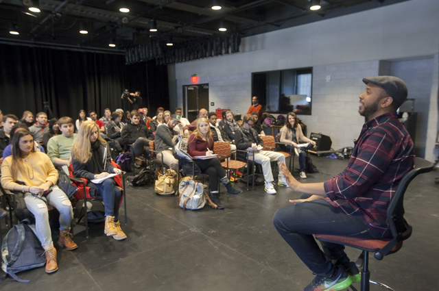 Filmmaker Justin Simien discusses his film Dear White People with students at the new theater and film & media studies building on North Third Street.