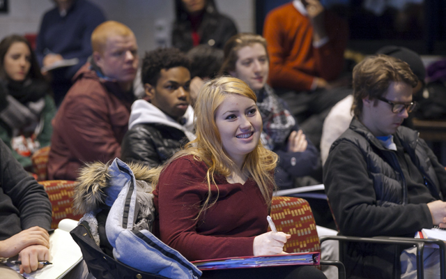 Students listen to filmmaker Justin Simien discuss his film Dear White People.