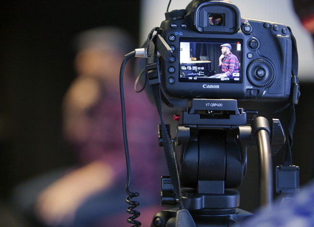 A view from the camera of filmmaker Justin Simien.