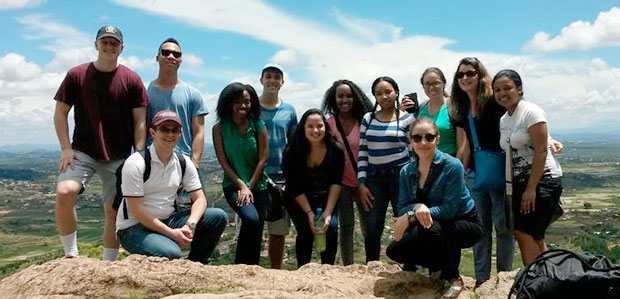 LIME team with Professor Averett touring Malagasy palace on New Year's Eve