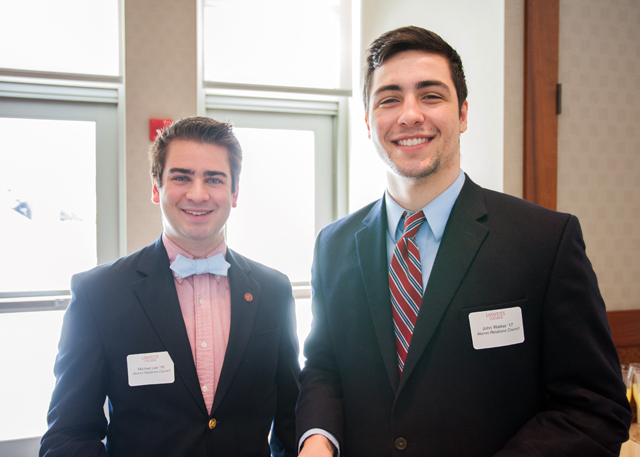 Members of the Alumni Relations Council Michael Lee '16 and Joseph Walker '17 helped host the event.