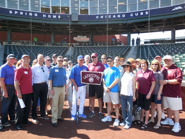 The Phoenix Alumni Chapter hangs out with Chicago Cubs Manager Joe Maddon '76 at the team's spring training facility.