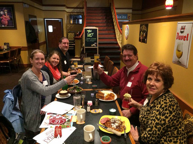 Members of the Pittsburgh Alumni Chapter have a toast to Lafayette.