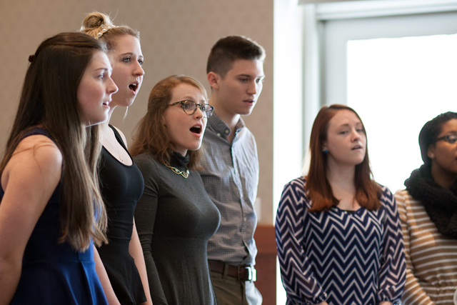 A cappella group Soulfege entertains the crowd.