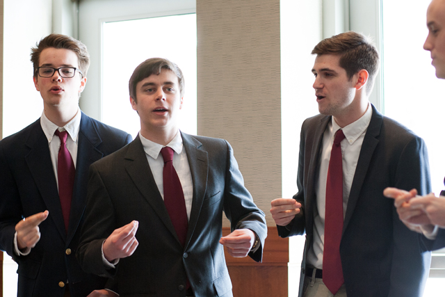 The men of the student a cappella group The Chorduroys keep it classy.