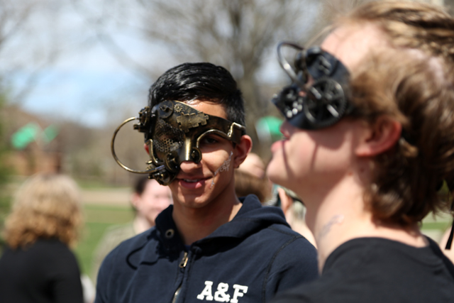 Students staged a mock protest (Society Against Victor NeuroTech) on the Quad to express concerns over the creations emanating from the Victor Neurotech lab.