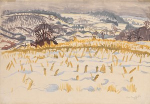 Charles Burchfield, Corn Stubble in Winter (1917, watercolor on paper, 13 x 19 inches), courtesy DC Moore Gallery, New York, with permission from Charles E. Burchfield Foundation.