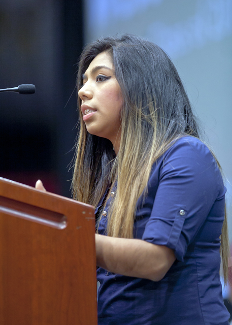 Erika Hernandez '17 speaks during the welcome session.