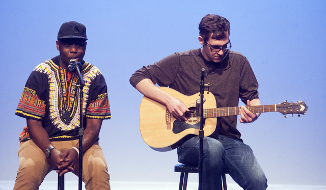 Munyaradzi Chifetete '17 sings, accompanied by and Grant Kempski '16 on guitar.