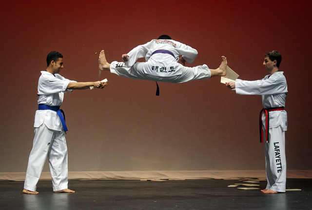 The Taekwondo Club demonstrates its skills.