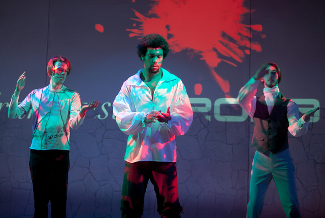 "Students perform in the original play ""Frankenstein 2029"" by Gavin Knox '17 and Professor Suzanne Westfall."