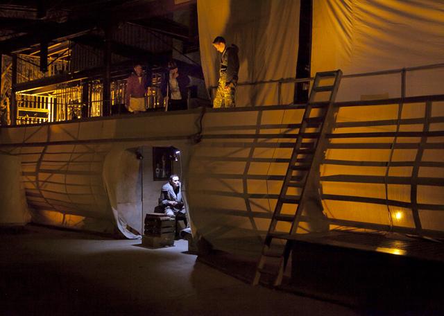 Victor Frankenstein encounters Captain Walton on his ship.