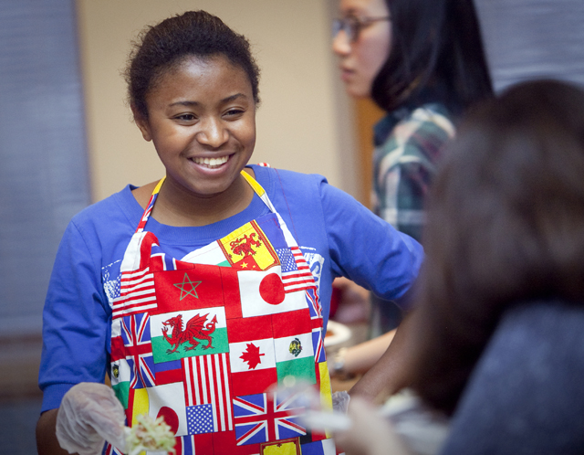 Students try foods from around the world during the international tasting event.