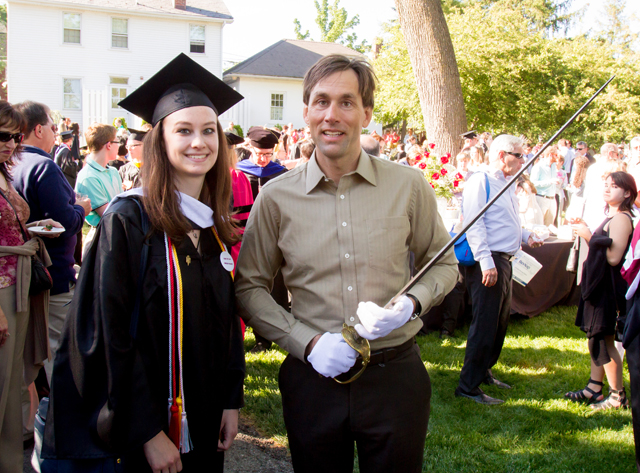 Julia Campbell '15 hangs out with Commencement Speaker Eric Weihenmayer and the sword of the Marquis de Lafayette.