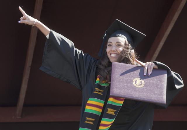 Jennifer Schroeder '15 receives her degree.
