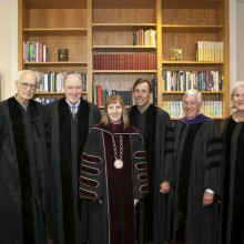 Karl Stirner, Miles Young, President Alison Byerly, Eric Weihenmayer, Edward Ahart '69, chair of the Board of Trustees, and Nancy Kuenstner '75, secretary of the board, in the President's office