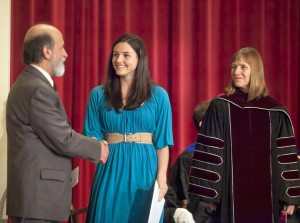 Heather Hughes '15 accepts the Louise M. Olmsted Prize in Ethics from Professor George Panichas.