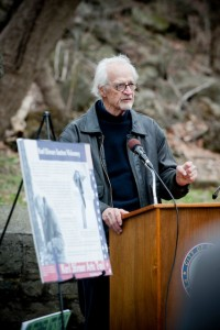 Karl Stirner speaks at the ribbon cutting for Easton's Karl Stirner Arts Trail. Photo by Ken Ek