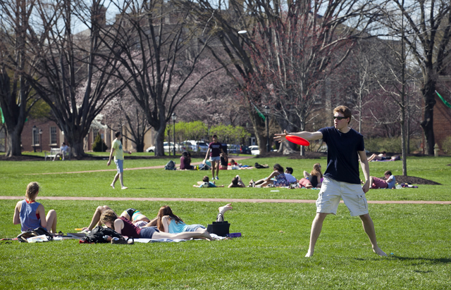 Spring means Frisbee and laying in the sun.