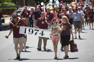 The Class of 1974 marches during Reunion 2014.