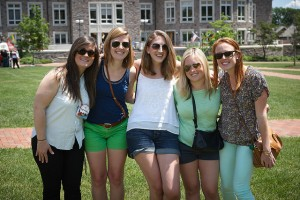 A group of alumnae posing for a photo on the Quad during Reunion 2014