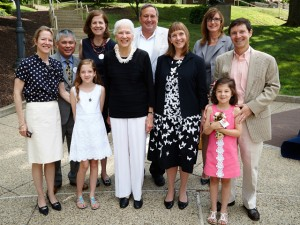 The College honored the Fleck family's legacy of service at a ceremony marking the 10th anniversary of the Fleck Consistent Giving Society. Left to right are: Shelby Slayton; Thomas Pak; Avery Slayton; Meredith Fleck; Jane Fleck; Michael Whitman '82, co-chair of the society; President Alison Byerly; Kim Spang, vice president for development and college relations; Charlotte Slayton; and Scott Slayton.