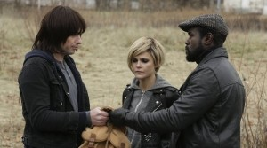 Matthew Rhys (L-R), Kerri Russell, and Thomas as South African liberation fighter Reuben Ncgobo in FX's The Americans.