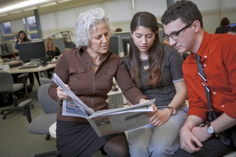 Cassidy Taylor '17 and Adam Valavanis '17 got a firsthand look at the journalism field during a four-day job-shadowing externship with Jeanne Straus P'13, president of Straus News in Chester, N.Y.