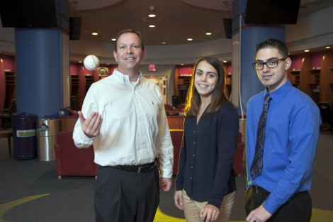 Jessica Deutsch '15 and Christopher Zacarias '16 learned about the business of baseball with David Buck '86, senior vice president of marketing for the Philadelphia Phillies.