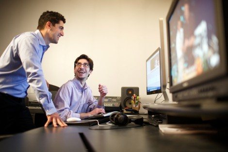 Ben Haaz '03, manager of digital video operations for ABC Television in Burbank, Calif., goes over some production simulations with Tim Gaziano '15.