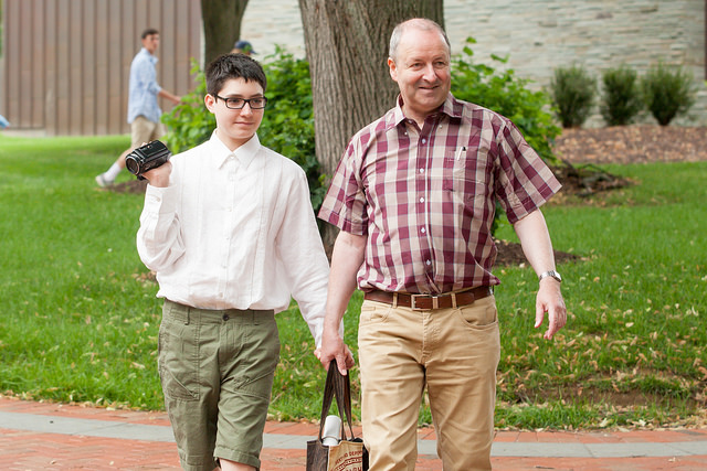 Alexander and La Fayette explore campus.