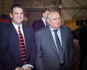 "Professor Josh Sanborn with Mikhail Gorbachev, the former leader of the Soviet Union, who delivered a major address titled ""Perspectives on Global Change"" at Kirby Sports Center."