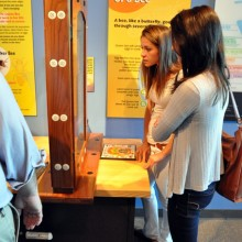 The students explore some of the current exhibits at the center.