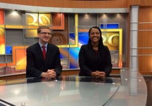 Edward O'Brien '16 and Kidane Kinney '15 served as anchors for the broadcast.