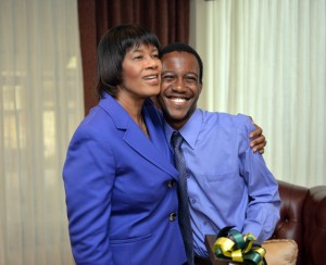 Jovante Anderson '19 shares a moment with Jamaican Prime Minister Portia Simpson Miller.