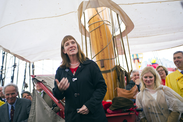 President Alison Byerly speaks while the Hermione is docked in Philadelphia.