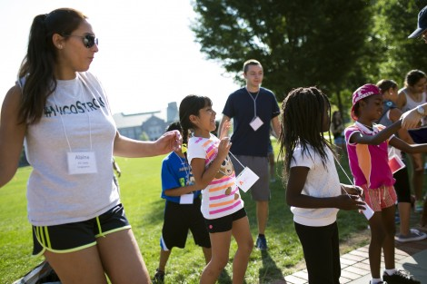 Alaina Ciccone '19 dances with the campers.