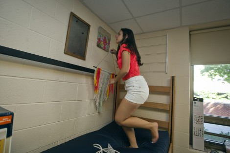 Anna Bock '19 hangs things on the walls.