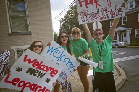 Upperclassmen welcome new students on McCartney Street.