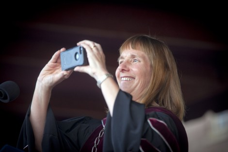President Alison Byerly takes a photo of the class to post on Twitter.