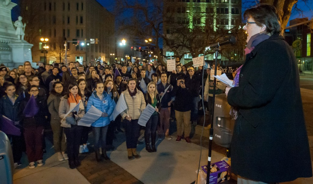 Mary Armstrong speaks about the personal and society costs of domestic and sexual violence during Take Back the Night.