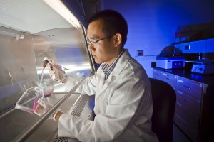 Kevin Ling '12 works on research.
