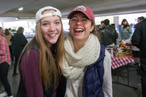 Alumni, students, and families have a good time during the tailgate in Markle Parking Deck.