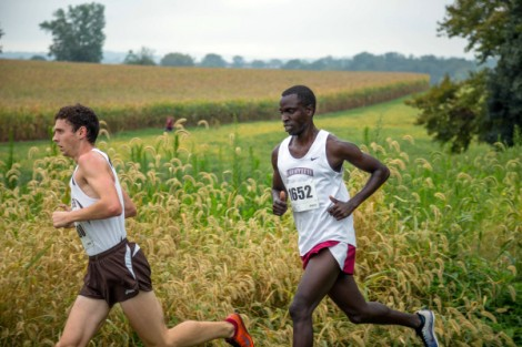 Kelvin Serem '17 competes in a cross-country meet.