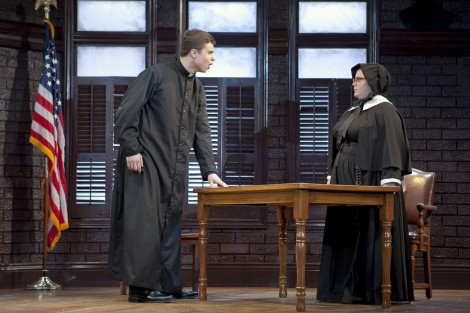 Chris Melka '18 as Father Brendan Flynn and Megan Thomas '16 as Sister Aloysius Beauvier