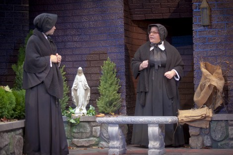 Meryl Hahne '18 as Sister James and Megan Thomas '16 as Sister Aloysius Beauvier