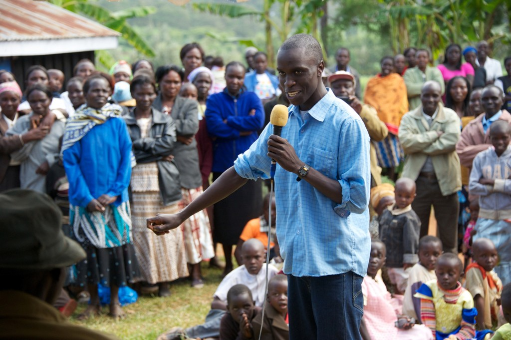 Kelvin Serem '17 is honored in his village of Kibargoiyet, Kenya, after graduating from Blair Academy in 2013.
